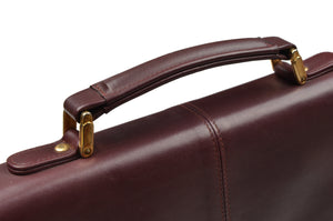 Matras Style Leather Briefcase - Burgundy