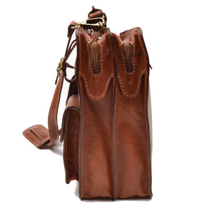 Pielle Leather Briefcase Caryall - Brown