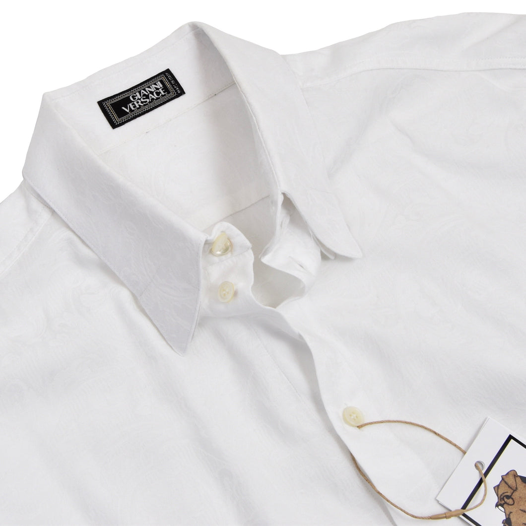 Vintage Gianni Versace Couture Shirt Size 54 - White Jacquard