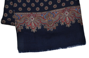 Printed Wool Dress Scarf - Navy