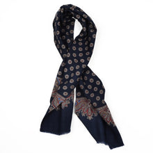 Load image into Gallery viewer, Printed Wool Dress Scarf - Navy