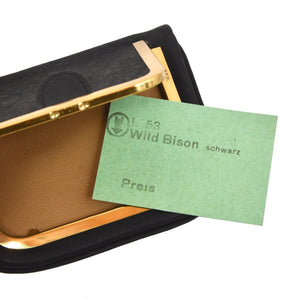Goldpfeil Puck Coin Wallet Wild Bison Leather - Black