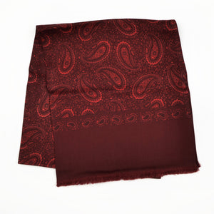 Knize Wien Wool/Silk Dress Scarf - Burgundy & Red