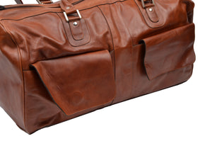 3 Piece Leather Travel Bag Set Duffle/Shoulder - Brown