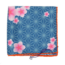Load image into Gallery viewer, Sieger Hibiscus Print Silk Pocket Square - Blue