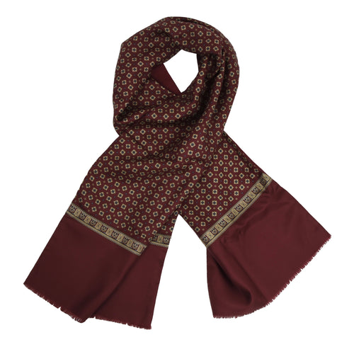 Classic Double-Sided Silk/Wool Dress Scarf - Burgundy