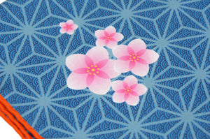 Sieger Hibiscus Print Silk Pocket Square - Blue