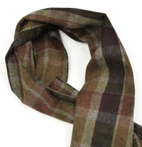 George Harrison & Co Plaid Wool Winter Scarf - Brown/Green