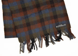 Classic Plaid Winter Scarf in 100% Pure Cashmere - Brown/Green/Blue