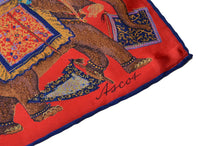 Load image into Gallery viewer, Ascot Silk Scarf Mongolian Print - Red