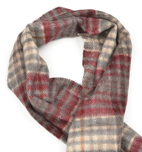 Plaid Winter Scarf in 100% Pure Cashmere - Cream/Grey/Burgundy