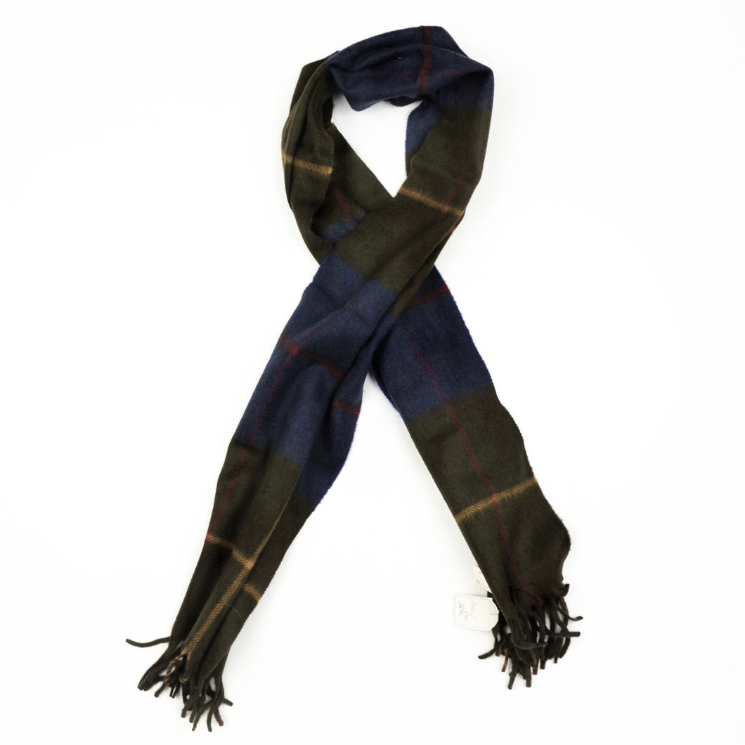 Color-Blocked Windowpane Scarf in 100% Pure Cashmere - Blue/Green