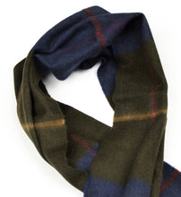 Load image into Gallery viewer, Color-Blocked Windowpane Scarf in 100% Pure Cashmere - Blue/Green