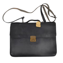 Load image into Gallery viewer, Ruitertassen Leather Briefcase/Shoulder Bag - Black