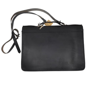 Ruitertassen Leather Briefcase/Shoulder Bag - Black