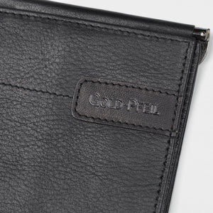 Goldpfeil Double-Sided Leather Wallet & Money Clip - Black