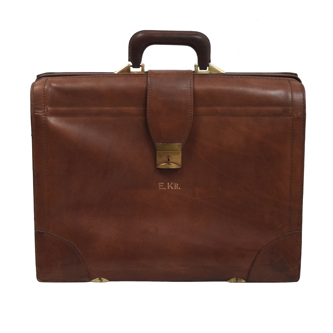Vintage Renwick Harness Leather Briefcase - Brown