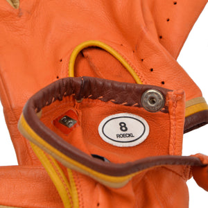 Röckl Deerskin Driving Gloves Size 8 - Orange