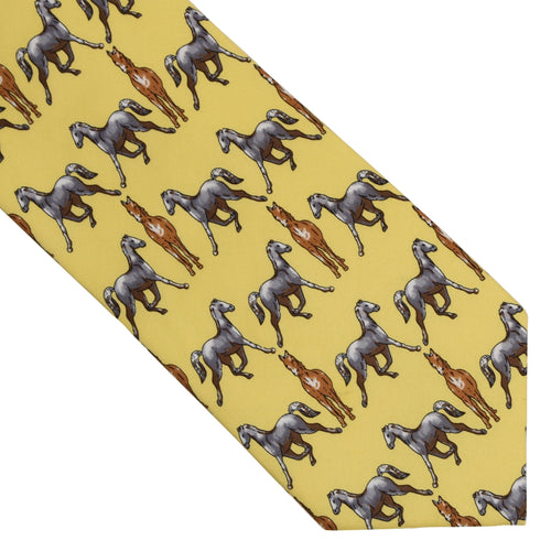Horse Themed Printed Silk Tie - Yellow