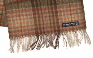 Pure Cashmere Plaid Scarf - Green & Brown