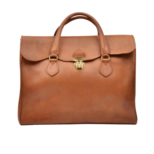 Vintage Leather Weekender Bag - Tan