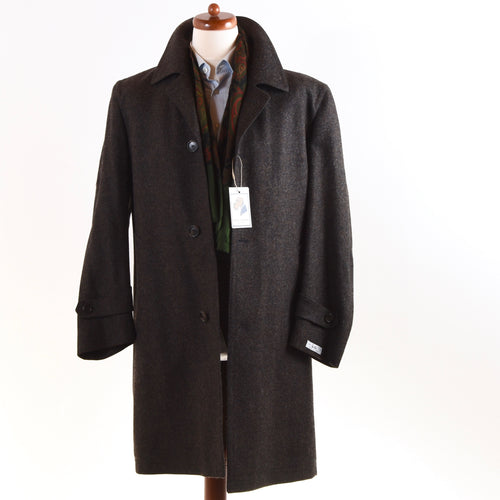 NEW Rene Albert Light Wool Overcoat Size 46 - Brown