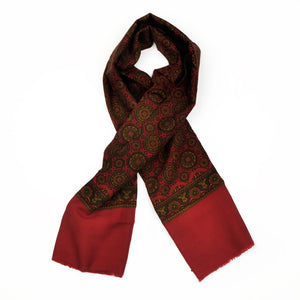 Wool Challis Dress Scarf - Red & Green Medallion