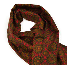 Load image into Gallery viewer, Wool Challis Dress Scarf - Red & Green Medallion