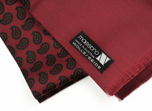 Load image into Gallery viewer, Wool & Silk Challis Paisley Dress Scarf - Bordeaux