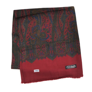 Wool & Silk Challis Floral Paisley Dress Scarf by P.C. Leschka - Red