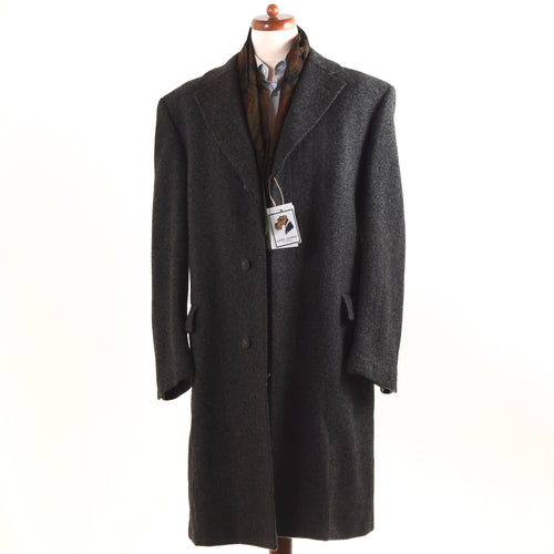 Jupiter Wien Vintage Wool Overcoat Size 54 - Dark Grey