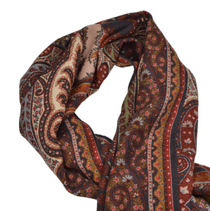 Etro Milano Aztec Inspired Scarf - Red, Burgundy, Orange