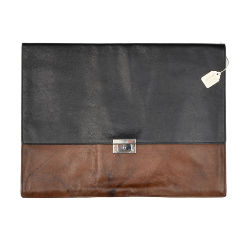 Goldpfeil Leather Document Holder - Black & Brown