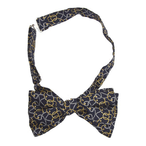 Printed Silk Bow Tie - Navy