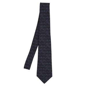 Bottega Veneta Printed Silk Tie - Navy/Black