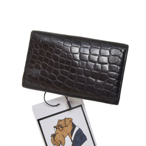 Vintage Gianni Versace Faux Crocodile Leather Keychain/Case - Black