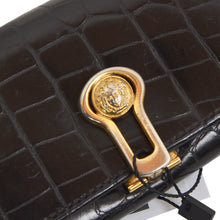 Load image into Gallery viewer, Vintage Gianni Versace Faux Crocodile Leather Keychain/Case - Black
