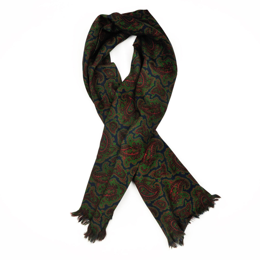 Wool Challis Dress Scarf - Blue, Green & Red