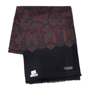Wool & Silk Challis Floral Paisley Dress Scarf by P.C. Leschka - Navy