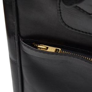 Crown's Club Leather Carry-On Small Suitcase - Black