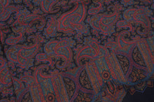 Load image into Gallery viewer, Wool & Silk Challis Floral Paisley Dress Scarf by P.C. Leschka - Navy