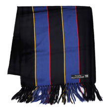 Load image into Gallery viewer, Wool Striped Scarf - Black & Blue