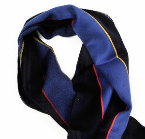Wool Striped Scarf - Black & Blue