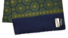 Load image into Gallery viewer, Wool Challis Dress Scarf Medallion - Blue, Green & Yellow