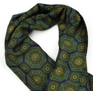 Wool Challis Dress Scarf Medallion - Blue, Green & Yellow