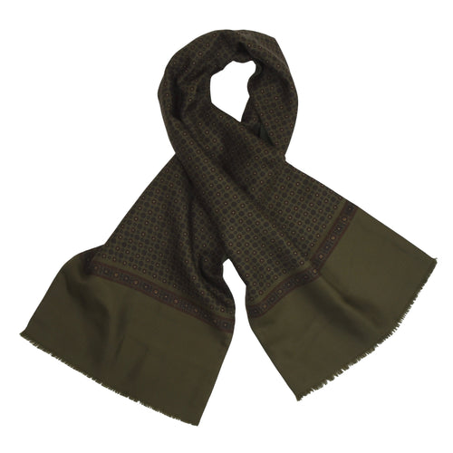 Double-Sided Silk/Wool Dress Scarf - Green