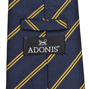 Classic Adonis Striped Silk Tie - Navy Blue