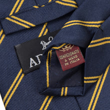 Load image into Gallery viewer, Classic Adonis Striped Silk Tie - Navy Blue