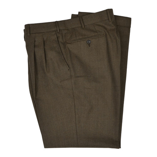 Corneliani Linea Sartoria Flannel Wool Pants Size 52 - Olive-Brown