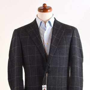 Corneliani Wool/Cotton Jacket Size 46 - Grey Windowpane